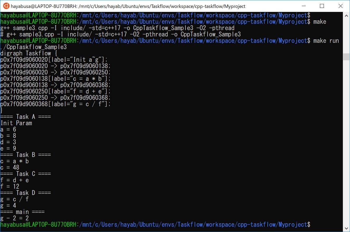 Cpp-Taskflowのビルドと実行