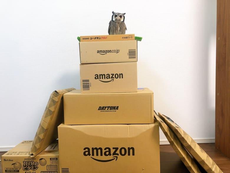 アマゾンプライムデーで買った商品の箱積み